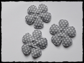 Katoenen polkadot bloem, grijs - 4 stuks - 47mm.