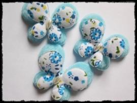 Vlinders, dubbellaags gebloemd blauw - 45mm.