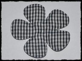 Geruite bloem, zwart - 2 stuks - 6.5 cm.