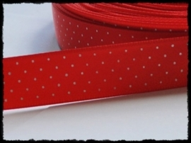 Satijn lint, rood met witte stipjes - 17mm