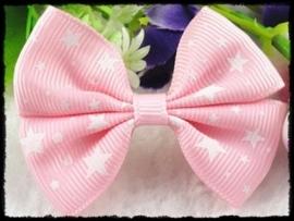 XL-strik - roze met witte sterren - 6 cm. - 2 stuks