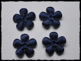 Satijnen bloemetjes, donkerblauw  - 3,5 cm.