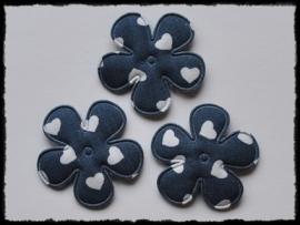 Katoenen bloemetjes, donkerblauw met hartjes - 4 stuks - 35mm.
