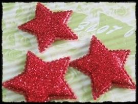 Sterren, rode glitter - 4 stuks - 35mm.