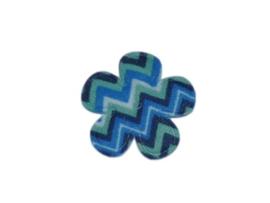 Katoenen bloemetjes, aztec blauw - 4 stuks - 25mm.