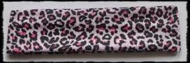Tricot haarbandje, luipaard roze - 4cm.