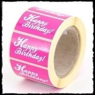 Etiketten `Happy birthday` - fuchsia - 10 stuks