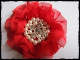 XL-bloem - luxe chiffon met parels en strassteentjes, rood - 9 cm.