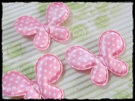 Satijnen vlinders, roze polkadot - 4 stuks - 45mm