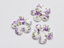 Katoenen bloemetjes, wit met paarse roosjes - 4 stuks - 25mm.