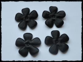 Satijnen bloemetjes, zwart  - 47mm.