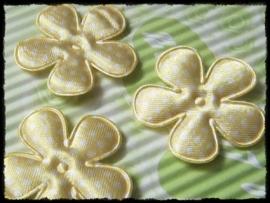 Satijnen bloemetje, geel polkadot - 4 stuks - 3,5 cm.