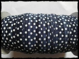 Elastisch band, donkerblauw polkadot - 16 mm.