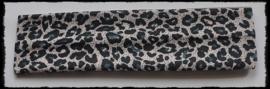 Tricot haarbandje, luipaard zand - 4cm.
