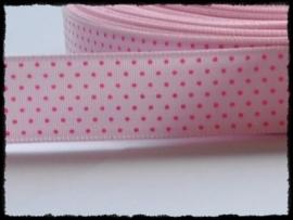 Satijn lint, roze met fuchsia stipjes - 17mm