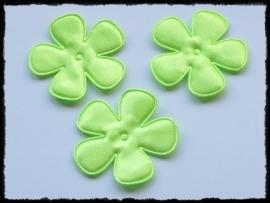 Satijnen bloemetjes, NEON-groen - 4 stuks - 47mm