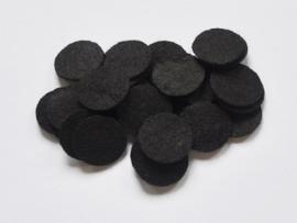 Rondjes van vilt, zwart - 25mm.