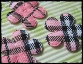 Bloemetje á la Burberry - roze - 4 stuks - 2,5 cm.