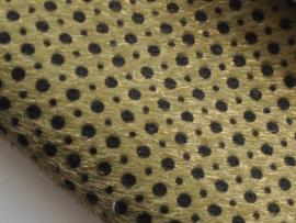 Fluffy lapje, legergroen met zwarte stip - 20 x 22 cm.