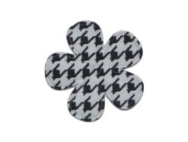 Katoenen bloemetjes, aztec zwart/wit - 4 stuks - 35mm.