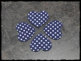 Donkerblauw polkadot hartje - 4 stuks - 3 x 3,5 cm.
