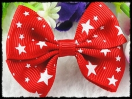 XL-strik - rood met witte sterren - 6 cm. - 2 stuks