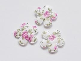 Katoenen bloemetjes, wit met lila roosjes - 4 stuks - 25mm.