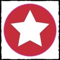 etiketten met ster, rood - 10 stuks