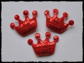Kroontje met pailletten, rood - 4 stuks - 4 cm.