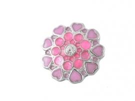 Strasstteen bloem, roze hartjes - 20mm.