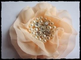 XL-bloem - luxe chiffon met parels en strassteentjes, zalm - 9 cm.