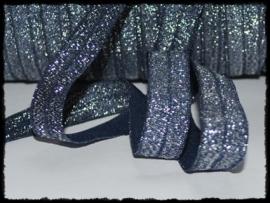 Elastisch band sparkling, donkerblauw - 16mm.