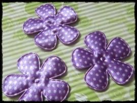 Satijnen bloemetjes, paars polkadot - 4 stuks - 47mm.