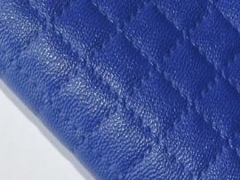 Lapje leer doorgestik, kobalt - 20 x 22 cm.