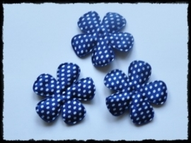 Satijnen bloemetjes, donkerblauw polkadot - 4 stuks - 47mm.
