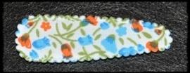 (gr) Haarkniphoesjes incl knipjes - blauw/oranje bloemetjes - 2 stuks