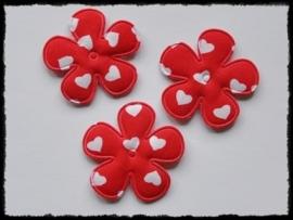 Katoenen bloemetjes, rood met hartjes - 4 stuks - 35mm.