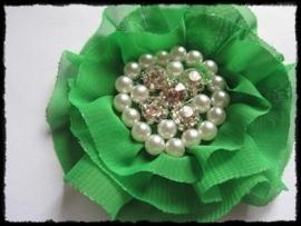 XL-bloem - luxe chiffon met parels en strassteentjes, groen - 9 cm.