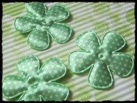 Satijnen bloemetjes, groen polkadot - 4 stuks - 47mm.