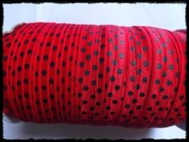 Elastisch band, rood met zwarte stip - 16 mm.
