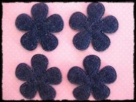 Bloemetjes van jeansstof - 4 stuks - 3,5 cm.