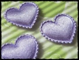 Hartjes satijn, lila - 4 stuks - 2 cm.