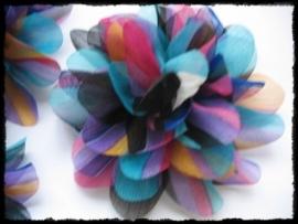 XXL-bloem  - chiffon gestreept - 10 cm.