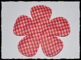 Geruite bloem, rood - 2 stuks - 6.5 cm.