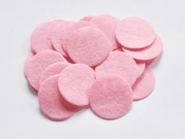 Rondjes van vilt, roze  - 3,5 cm.