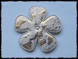 Satijnen bloem, goud met wit kant - 65mm - 2 stuks