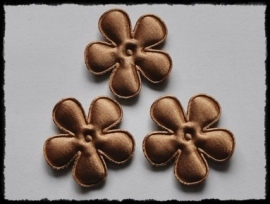 Satijnen bloemetjes, bruin - 4 stuks - 47mm