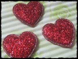 Hartjes, rood glitter - 4 stuks - 20mm.