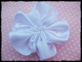 Satijnlint bloem, wit - 5 cm.