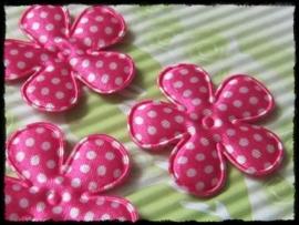Satijnen bloemetje, fuchsia polkadot - 4 stuks - 3,5 cm.